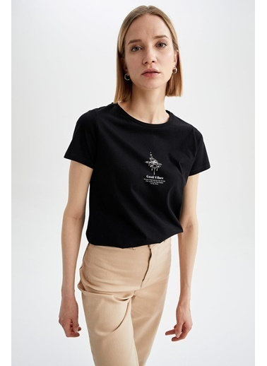 DeFacto Regular Fit Bisiklet Yaka Slogan Baskılı T-shirt Siyah